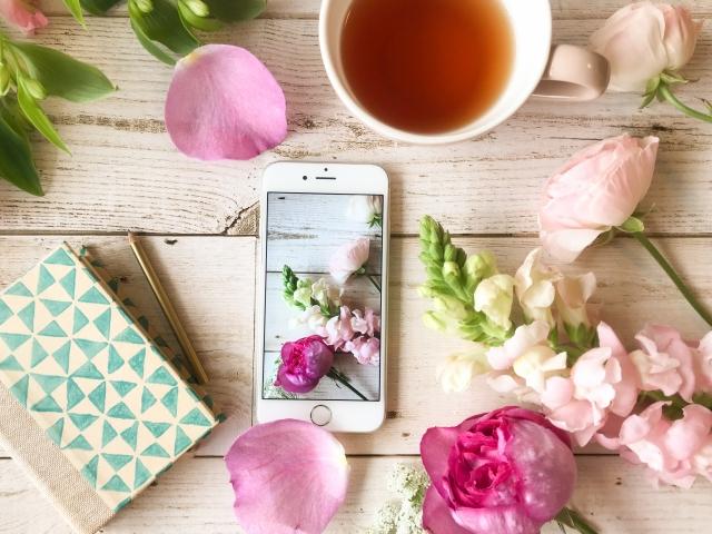 ピンクの花のスマホ写真S